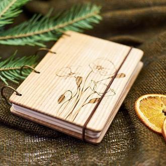 """Блокнот """"Калы"""" из натурального дерева на кольцах А6"""