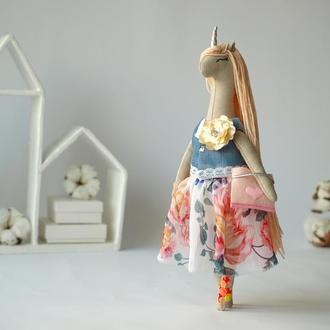 """Текстильная кукла, единорог """"Цветочная"""""""