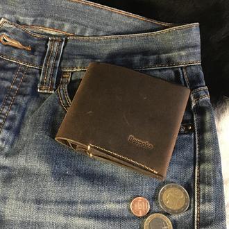 """Маленький кожаный кошелек """"Staff"""" / Мужской кошелек / Небольшой кошелек цвета черный шоколад"""