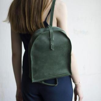 Кожаный зеленый женский мини-рюкзак