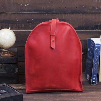Кожаный женский мини-рюкзак красный