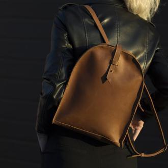 Кожаный женский коричневый мини-рюкзак