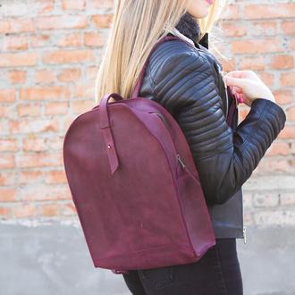 Кожаный женский рюкзак бордо
