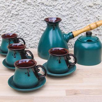Набір кавовий Великий з чотирма горнятками, блюдцями та цукерничкою