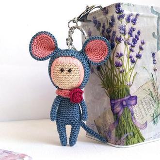 Вязаный брелок мышонок для ключей, машины, на сумку, на рюкзак, вязаный брелок кукла мышка, мышь