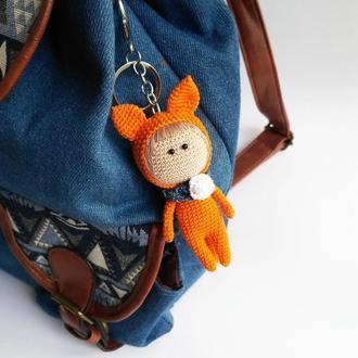 Вязаная маленькая игрушка Лисенок, аксессуар на рюкзак, сумку или в машину, вязаный брелок