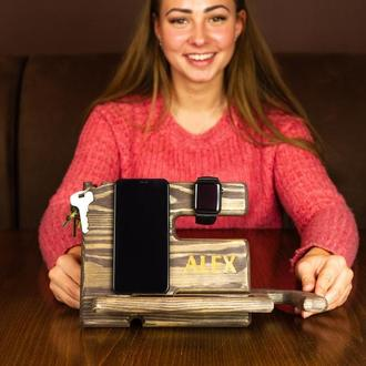 Деревянный органайзер, подставка в офис, подарок начальнику, подарок мужчине, подставка для телефона