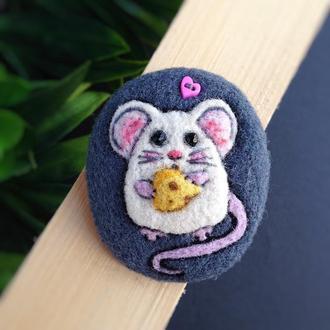 Брошь мышь крыса крыска брошка кавайная валяная