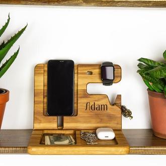 Деревянный органайзер в офис, подставка для телефона, для часов, на подарок