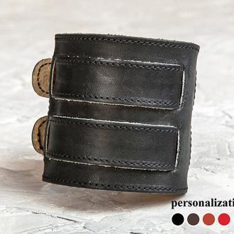 Черный прошитый широкий стильный кожаный браслет с двумя полосами код 6411ст
