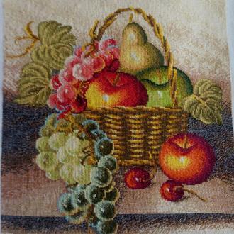 Вышивка крестом. Мулине. 09-4 Корзина с фруктами. Работа без рамки.