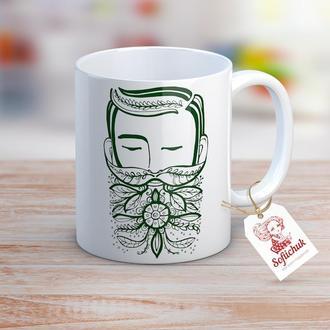Мужчина (Эко) в цветах - дизайнерская чашка с авторским рисунком