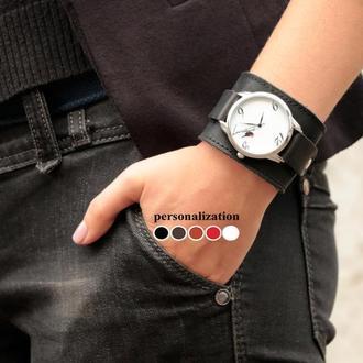 Прошитый кожаный ремешок для часов, код 5500ст