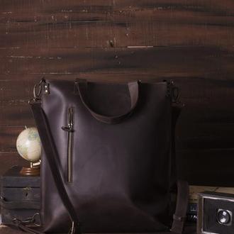 Кожаный коричневый рюкзак-трансформер