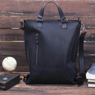 Кожаный рюкзак-трансформер черный