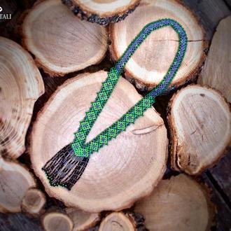 Колье зеленый гердан гайтан в украинском стиле