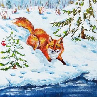 """Картина для детей """"Лиса и елочка"""" Рождество Зимний пейзаж"""
