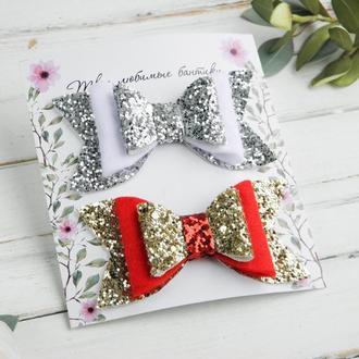 Блестящие новогодние бантики заколочки для девочки / Заколки в подарок малышке