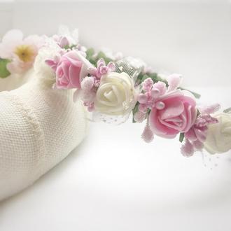 Обруч для волосся. Обруч з квітами. Ободок для волос. Ободок с цветами.