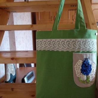 """Эко-сумка шоппер """"Гиацинты"""" с вышивкой лентами"""