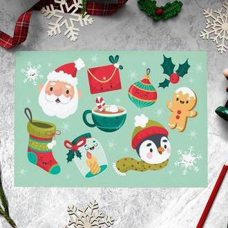 """Новогодний стикерпак """"Санта Клаус и пингвин"""""""