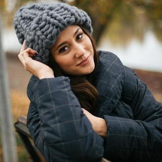 Женская зимняя шапка из нануральной шерсти мериноса. вязанная теплая шапка