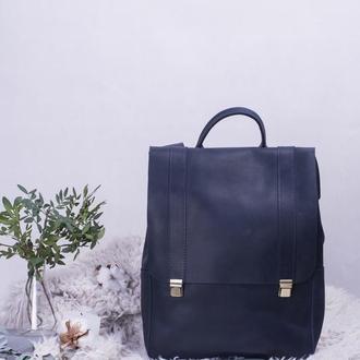 Кожаный синий рюкзак на клавишных замках