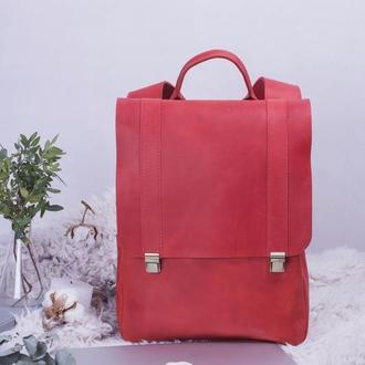 Рюкзак кожаный красный на клавишных замках