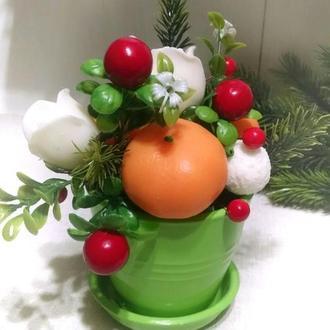 Мыльный новогодний букет с мандаринами.