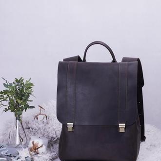 Кожаный рюкзак коричневый женский