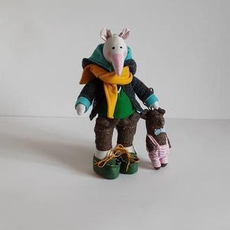 Мягкие игрушки Крыса с поросенком Крыса подарок на Новый год.