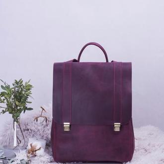 Женский кожаный рюкзак на клавишных замках