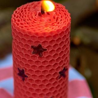 Оригинальная розовая свеча из вощины ручной работы, для декора и подарков