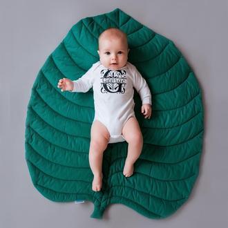 Коврик - листик для детской комнаты в зелёно-бирюзовом цвете Green