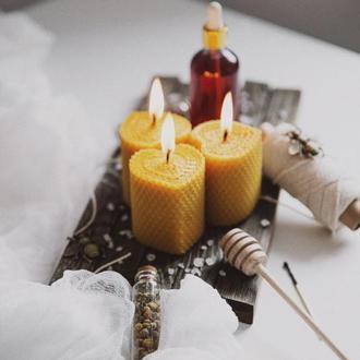 Свечи из вощины в форме сердца, гипоалергеный подарочный набор для дома и декора