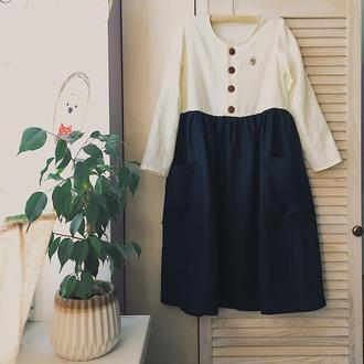 Весеннее льняное платье с пуговками спереди, разнообразная цветовая палитра льна