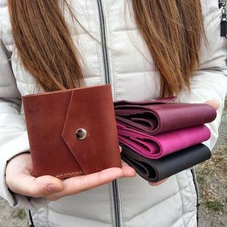 Кожаный женский кошелек RUBAKHA Коньяк Подарочная упаковка Гравировка (KMKM02)