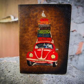 Обложка на паспорт машина,подарок путешественнику, красная машина, обложка для загран паспорта
