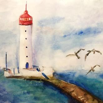 Маяк Одесса пейзаж море акварель