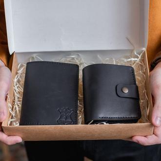 Подарочный набор для мужчины: портмоне +обложка на паспорт