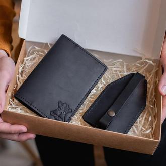 Подарочный набор для мужчины: кожаная обложка на паспорт+ключница