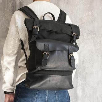 Городской рюкзак из хлопка и натуральной кожи (оксфорд)