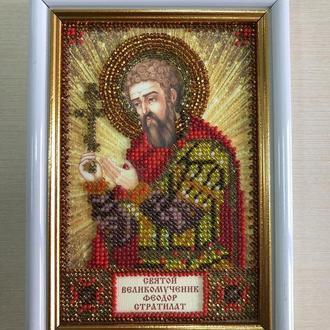 Икона вышитая бисером в багете Святой Великомученик Феодор Стратилат