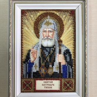 Икона вышитая бисером в багете Святой Патриарх Тихон