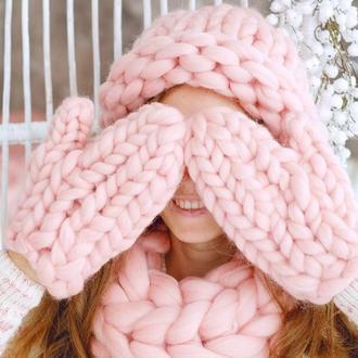 Женский комплект шапка и шарф из натуральной шерсти мериноса. Теплый зимний комплект
