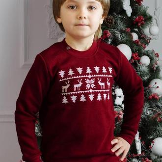 Свитер с оленями для мальчика - детский (свитшот рождественский)