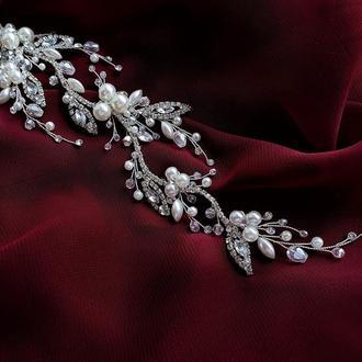 Свадебные украшение для волос, веточка в прическу, нежное украшение в прическу невесте, ободок