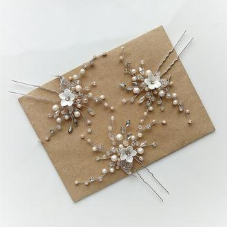 Свадебное украшение для волос, шпилька в прическу, заколка свадебная, заколка в прическу