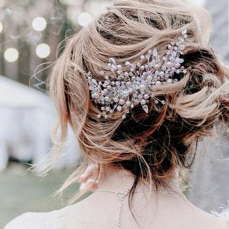 Свадебное украшение для волос, веточка в прическу, гребень, прикраса у зачіску
