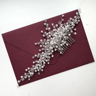 Свадебное украшение для волос, веточка в прическу, гребешок, украшения в прическу на выпускной